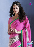 NS10557 Pink White and Green Georgette Casual Saree