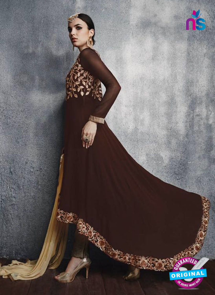 SC 13448 Brown Embroidered Faux Georgette Party Wear Fancy Designer Suit