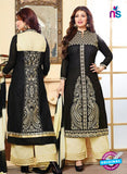 NS10128 Black and Yellow Cotton Straight Suit