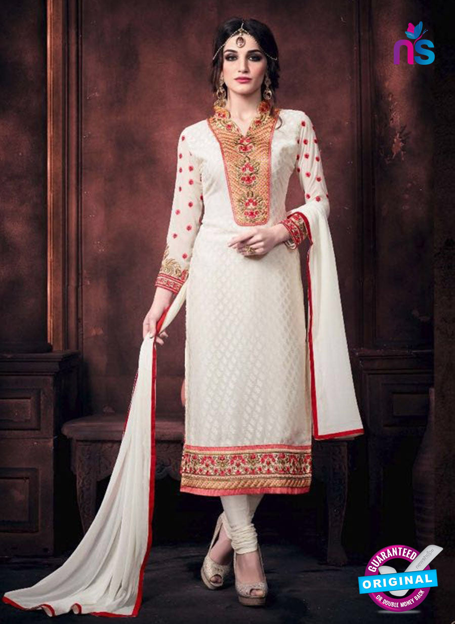Buy Vaidik 11001 White Brasso Party Wear Suit