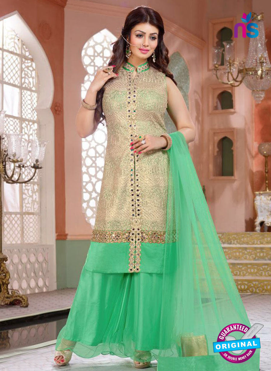 NS10191 Golden and Green Party Wear Pure Georgette Designer Suit