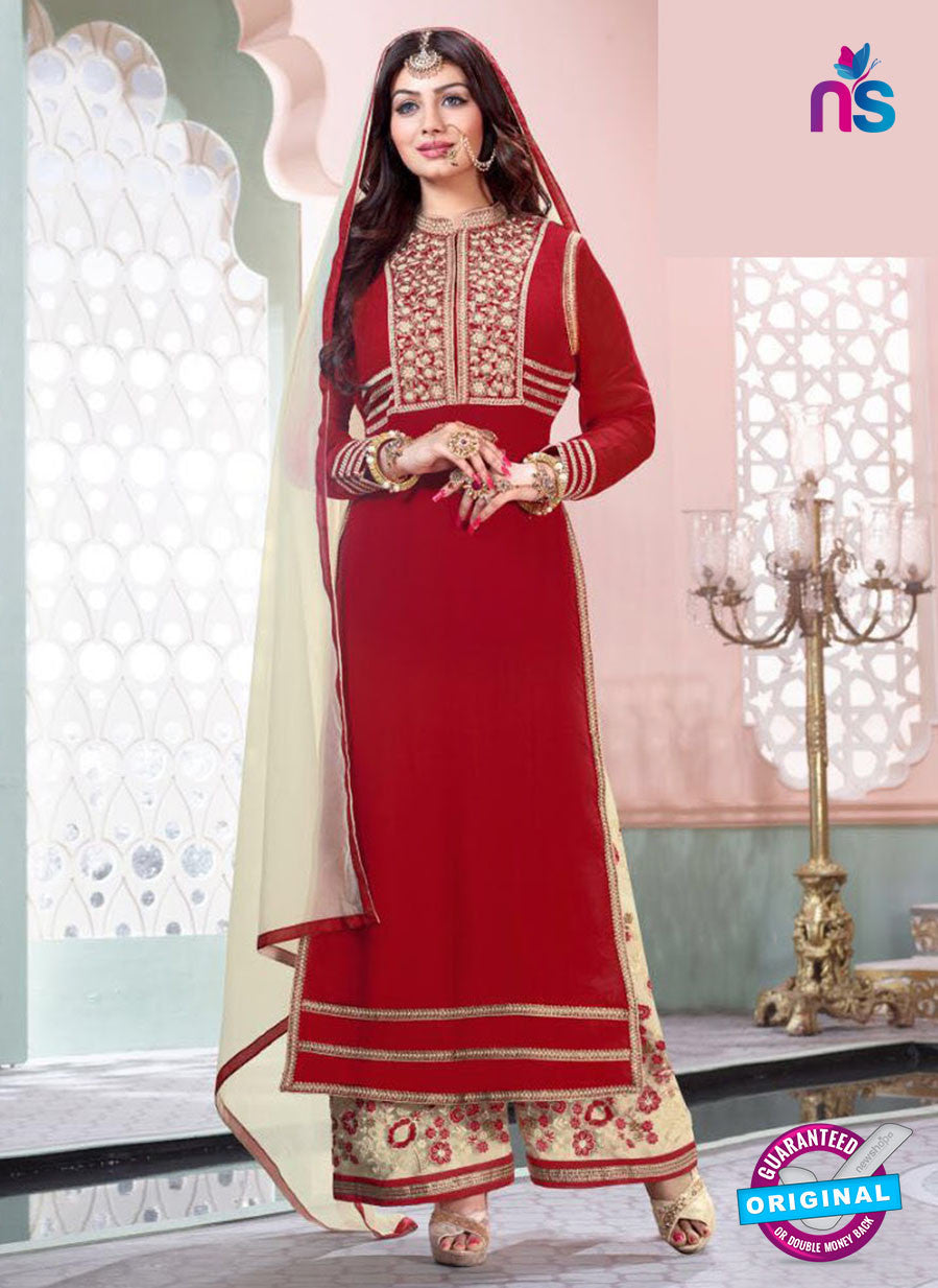 NS10192 Red and Beige Party Wear Pure Georgette Designer Suit