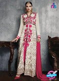 SC 13449 White and Pink Embroidered Faux Georgette Party Wear Fancy Designer Gawn