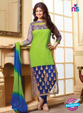 NS10129 Green Blue Cotton Straight Suit