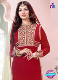 NS10192 Maroon and Beige Party Wear Pure Georgette Designer Suit Online