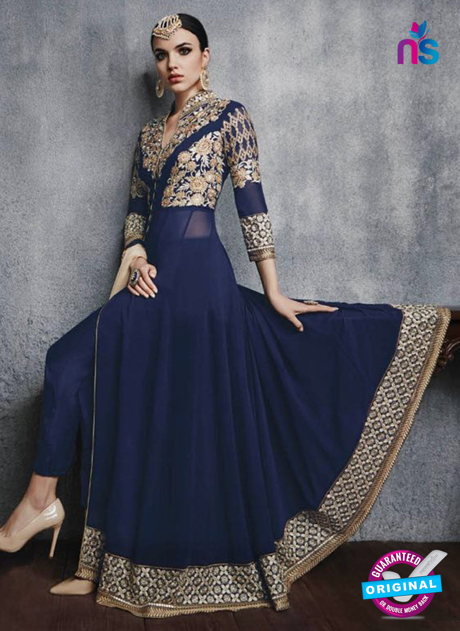 SC 13450 Blue Embroidered Faux Georgette Party Wear Fancy Designer Gawn