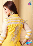 NS10130 Yellow and White Cotton Straight Suit
