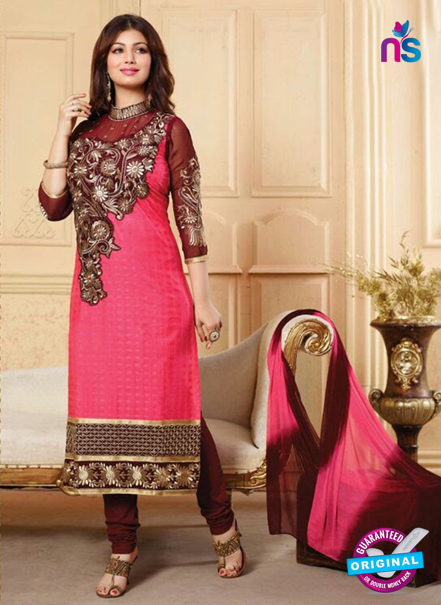 NS10131 Pink and Maroon Cotton Straight Suit