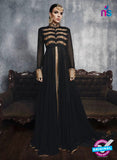SC 13451 Black Embroidered Faux Georgette Party Wear Fancy Designer Gawn