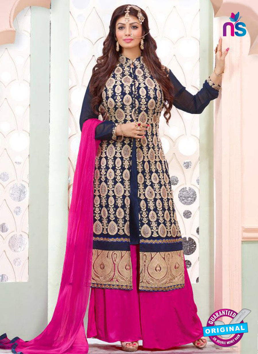 NS10195 Blue and Magenta Party Wear Pure Georgette Designer Suit