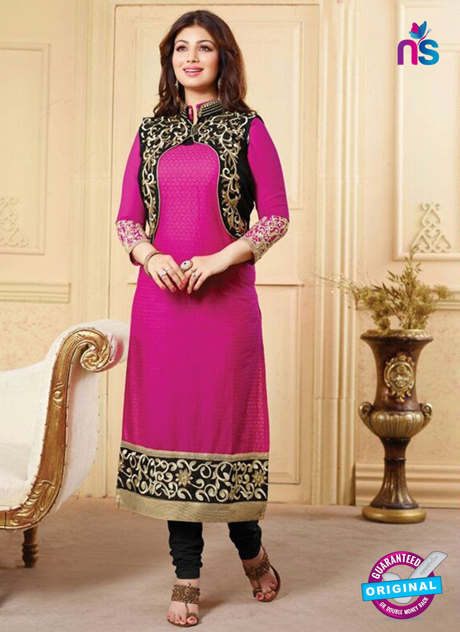NS10132 Pink and Black Cotton Straight Suit