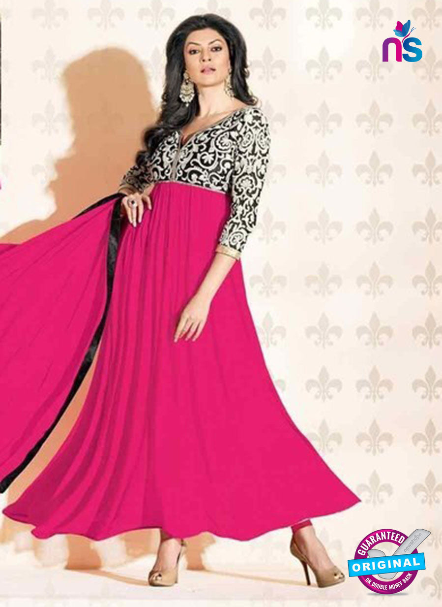 NS12046 A Pink and Black Anarkali Suit