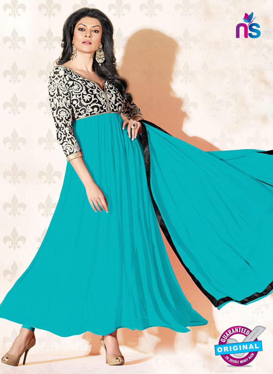 NS12047 B Blue and Black Anarkali Suit
