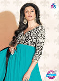 NS12047 B Sky Blue and Black Anarkali Suit
