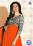 NS12048 C Orange and Black Anarkali Suit