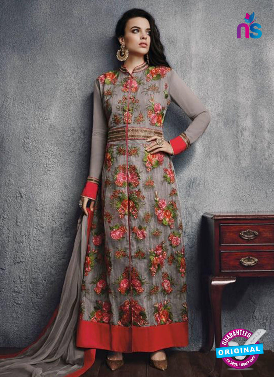 SC 13453 Grey and Red Embroidered Net Party Wear Fancy Designer Suit