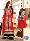 NS10133 Red and Black Cotton Straight Suit