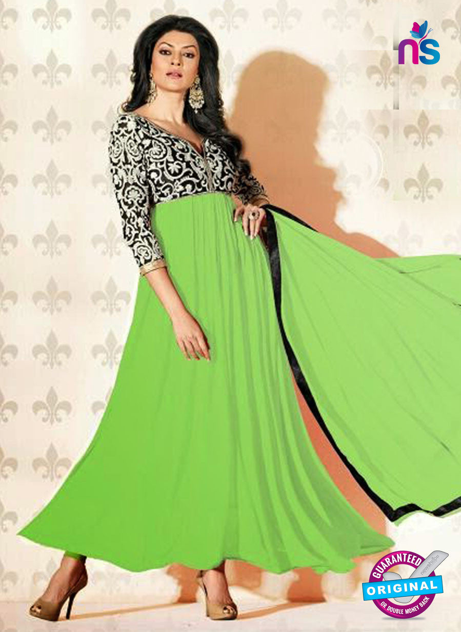 NS12050 F Green and Black Anarkali Suit