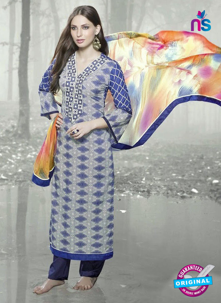 NS 12391 Blue and Multicolor Glace Cotton Straight Suit