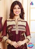 NS10134 Maroon and Beige Cotton Straight Suit