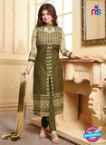 NS10135 Green Cotton Straight Suit