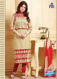 NS10136 Beige and Red Cotton Straight Suit