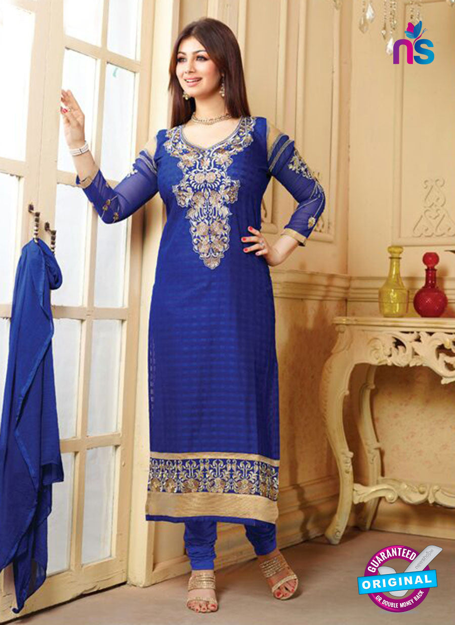 NS10137 Blue Cotton Straight Suit
