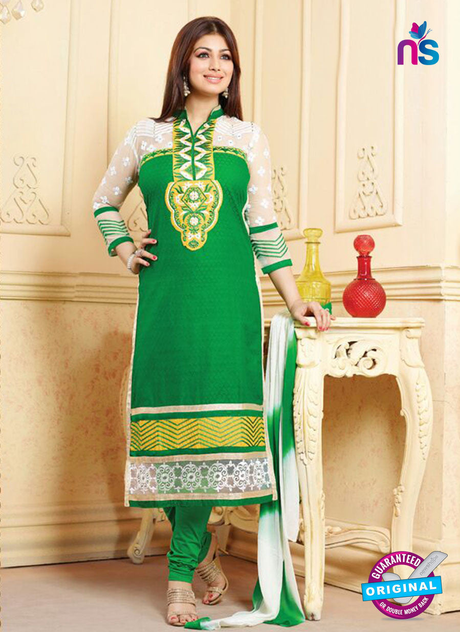 NS10138 Green and White Cotton Straight Suit