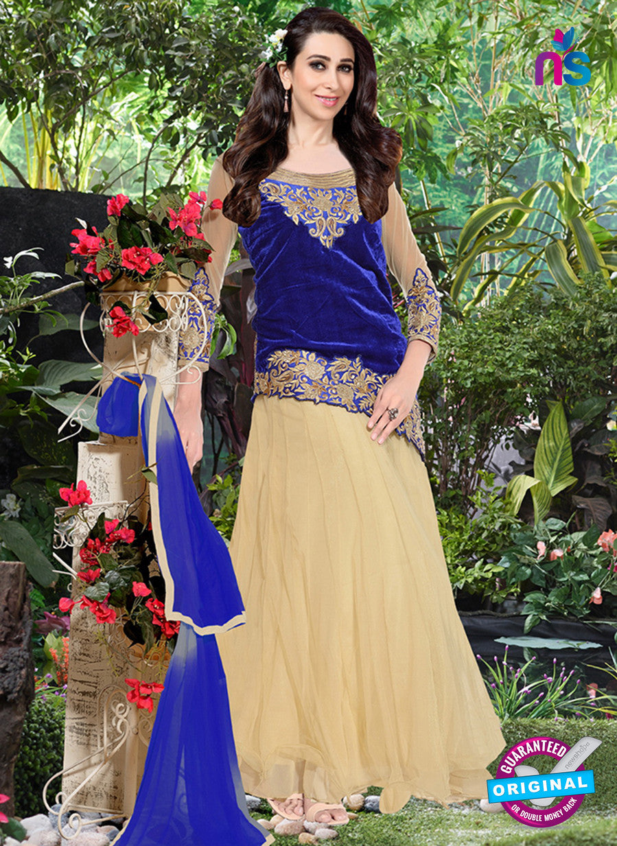 NS10981 Beige and Dark Blue Designer Anarkali Suit