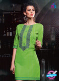 SC 13015 Green Lawn Cotton Party Wear Kurti