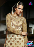 NS10642 Hamida Beige and Brown Straight Suit