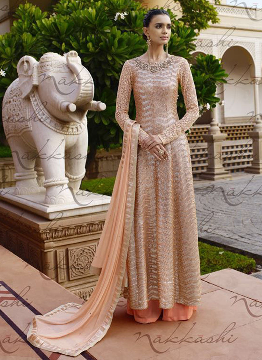 Nakkashi 11035 Peach Color Net Designer Suit