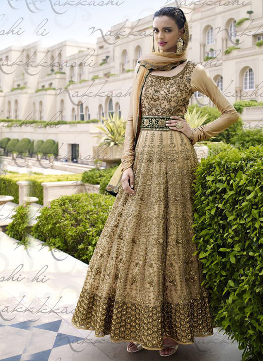 Nakkashi 11039 Beige Color Net Designer Suit