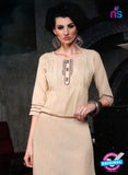 SC 12993 Beige Lawn Cotton Party Wear Kurti Online