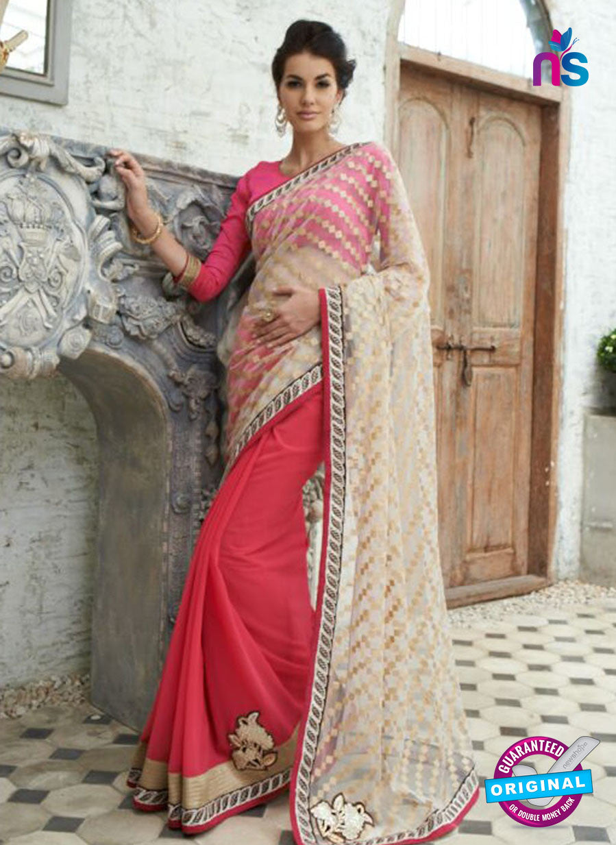 SC 13214 Beige and Pink  Crape, Georgette, Net Party Wear Saree