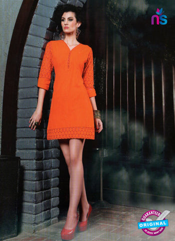 SC 13013 Orange Lawn Cotton Party Wear Kurti