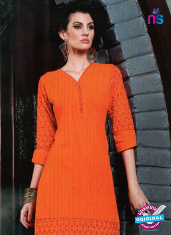 SC 13013 Orange Lawn Cotton Party Wear Kurti Online