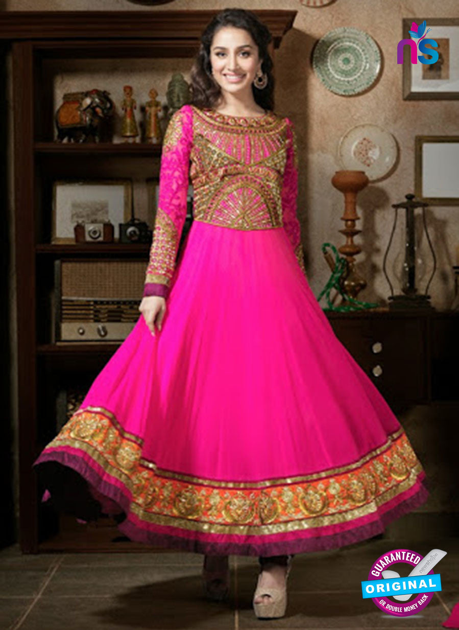 NS12051 Pink and Golden Anarkali Suit