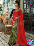 SC 13215 Red and SeaGreen Crape, Georgette, Net  Party Wear Saree