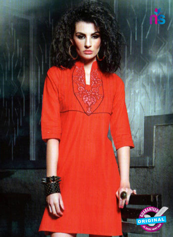 SC 13010 Red Lawn Cotton Party Wear Kurti Online