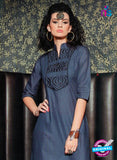 SC 13016 Grey and Black Lawn Cotton Party Wear Kurti Online