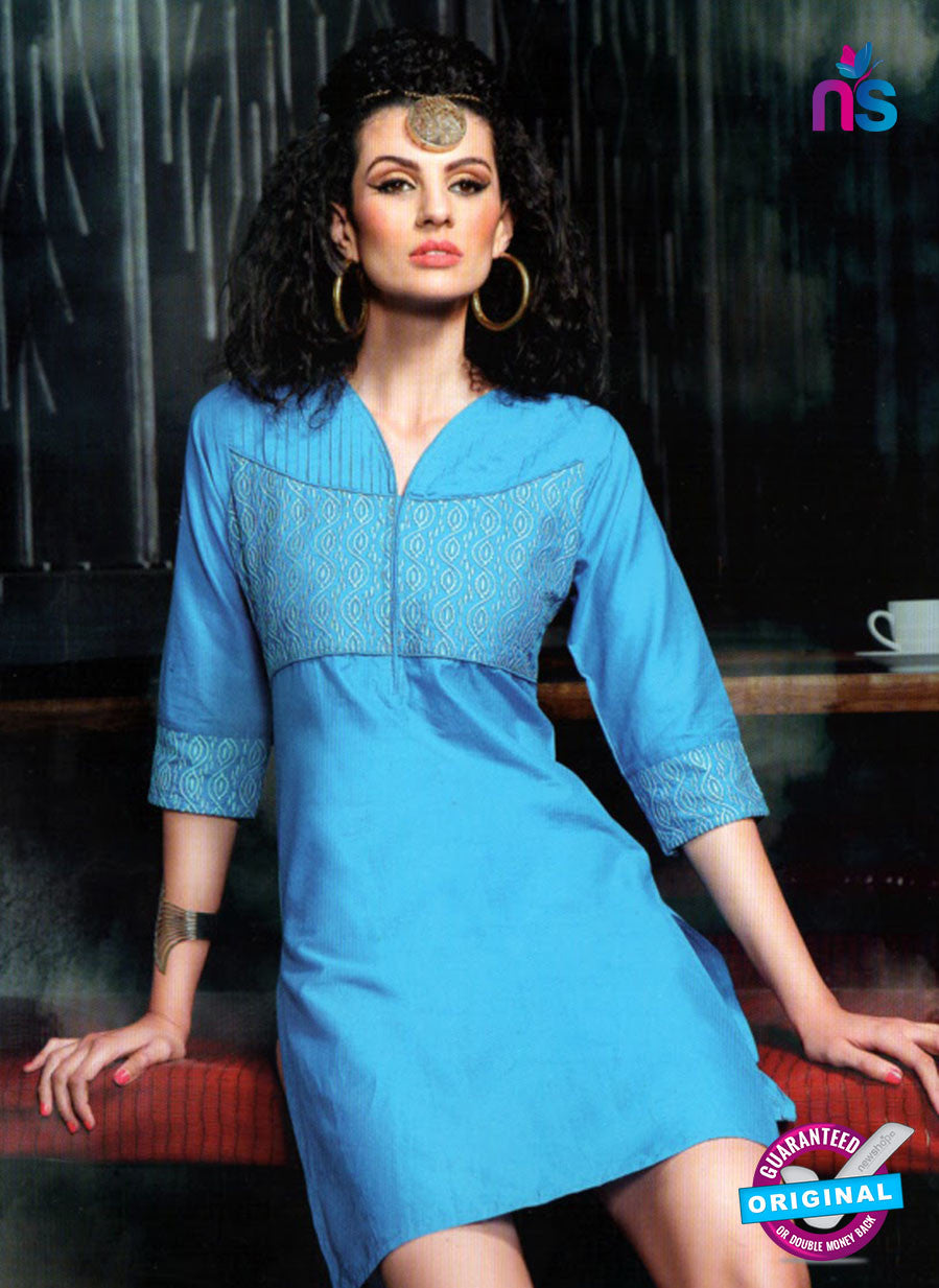 SC 13011 Sky Blue Lawn Cotton Party Wear Kurti