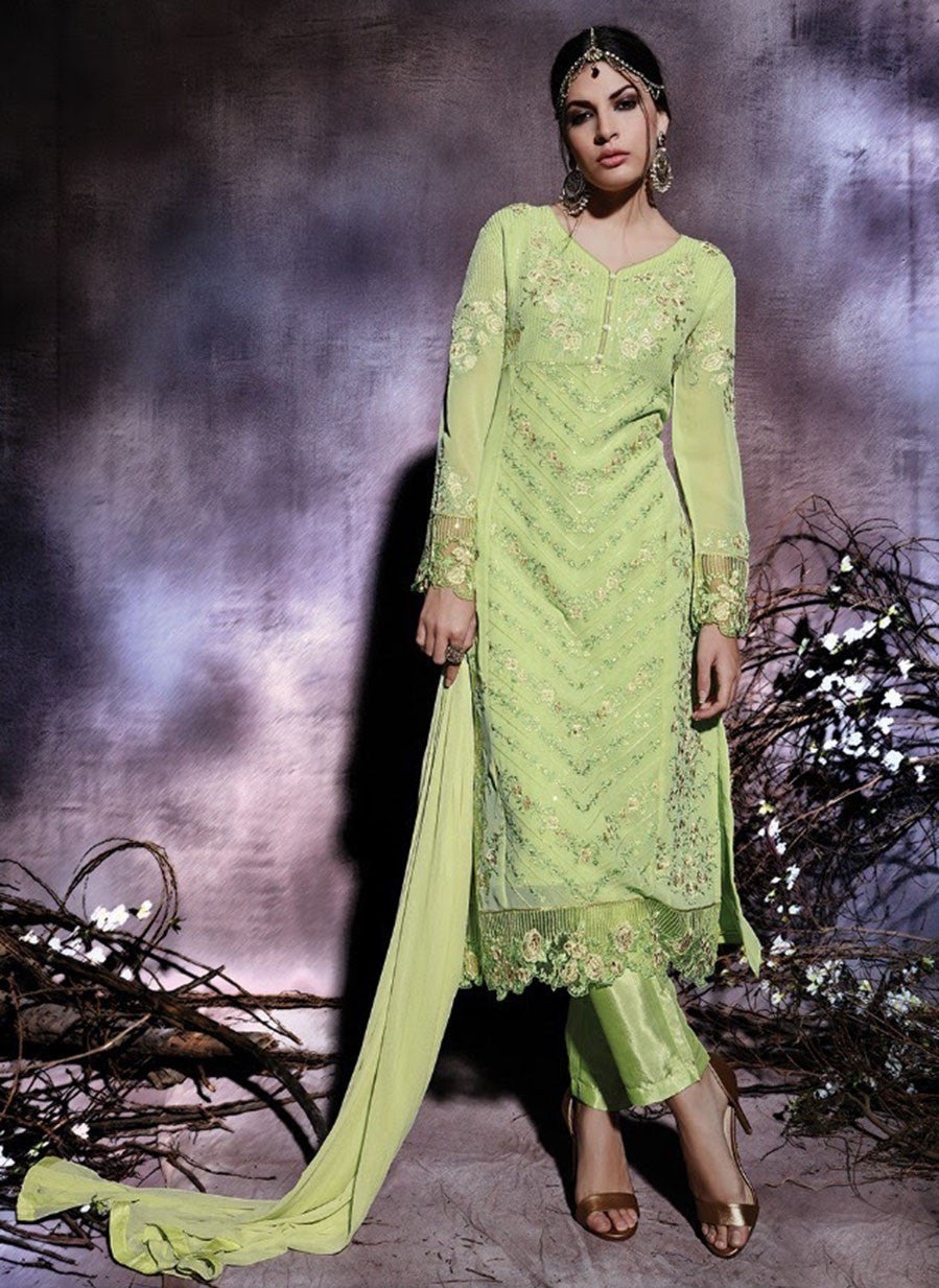NS10787  Sea Green Color Georgette Designer Suit