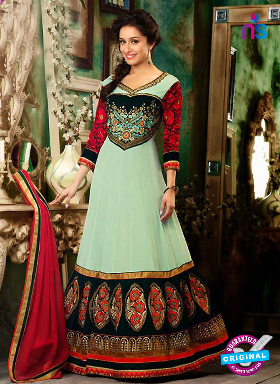 NS12053 Green and Black Anarkali Suit