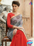SC 13216 Grey and Red Crape, Georgette, Net Party Wear Saree