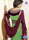 NS10586 Green and Brown Anarkali Suit