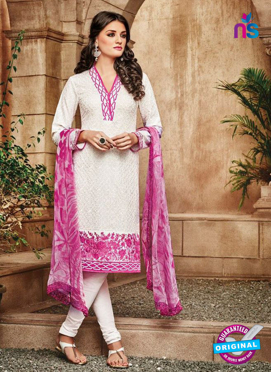 Omtex 1112 White & Pink Color Cotton Designer Suit