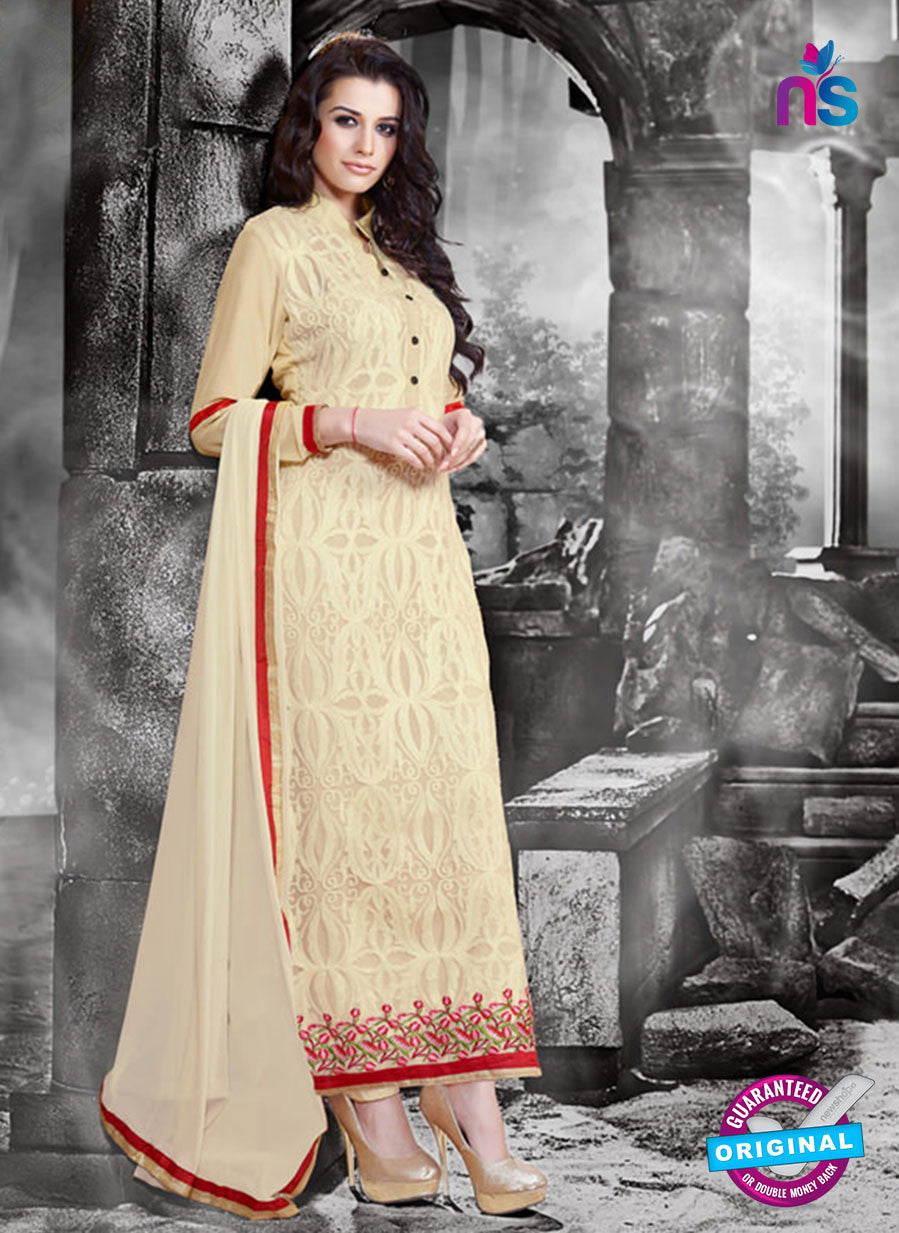 NS11131 Beige Faux Georgette Straight Suit