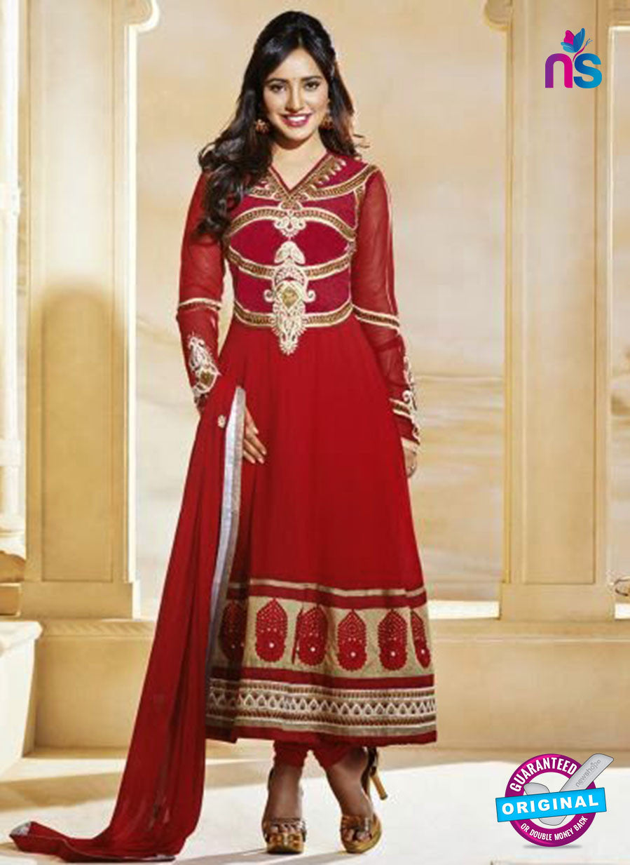 NS10587 Red and Golden Anarkali Suit