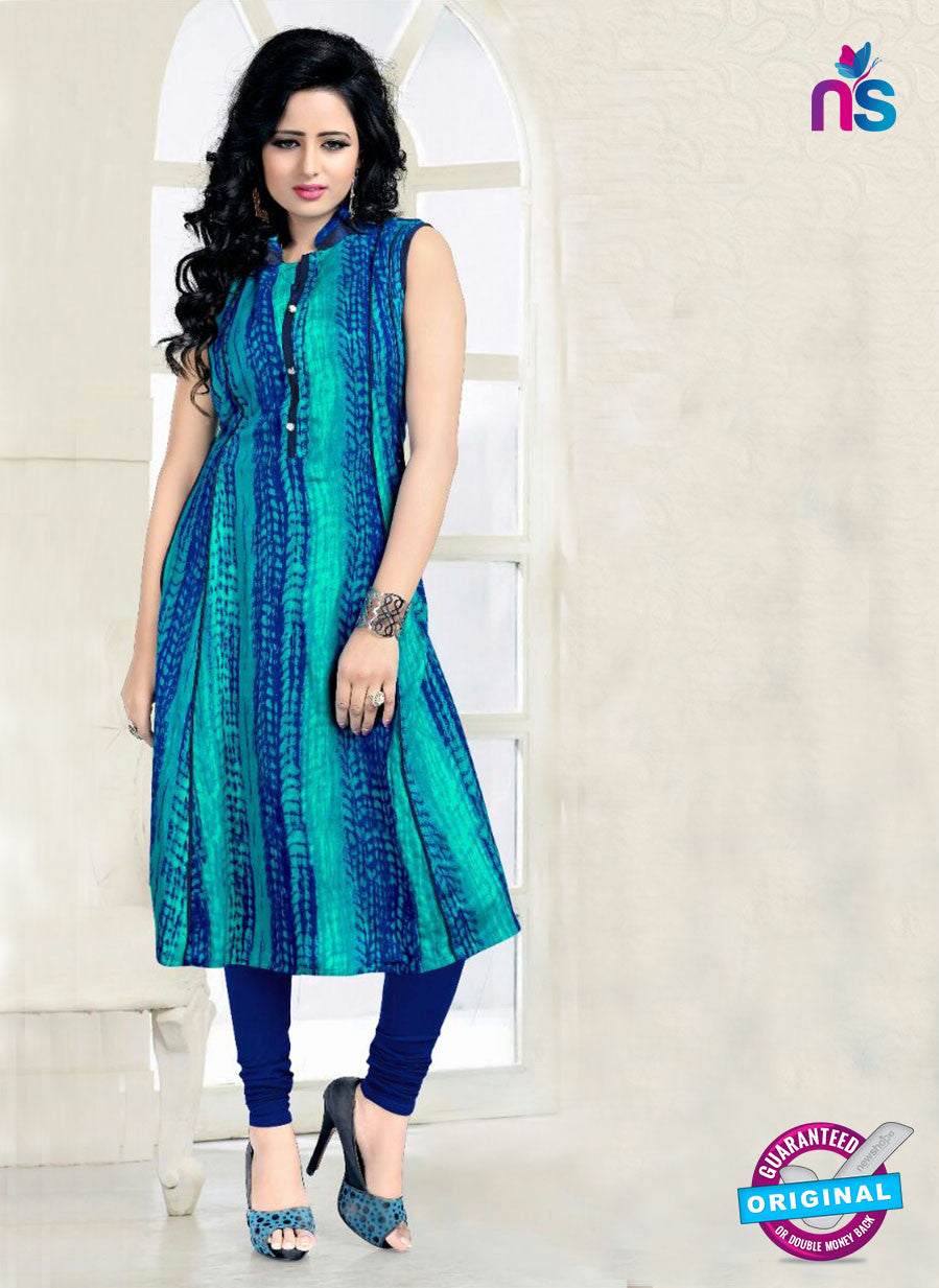 SC 14183 Blue and Green Rayon Fancy Formal Tunic
